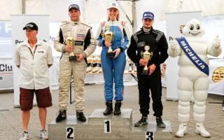 Podium der Division 3 mit Doppelsiegerin Victoria Froß